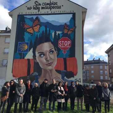 Un mural del ponferradino Asier Vera recuerda  desde hoy la lucha contra las violencias machistas